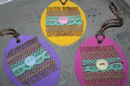 Burlap Easter Eggs with lace & craft foam