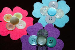 Felt Flowers with Craft Buttons