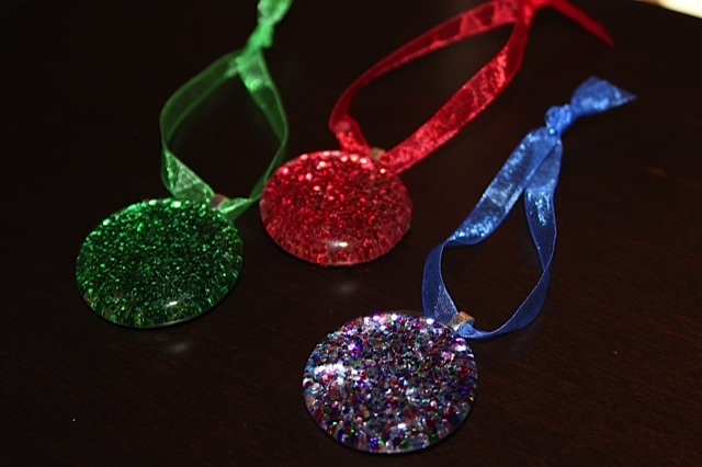 Glitter Glass Gem Ornaments