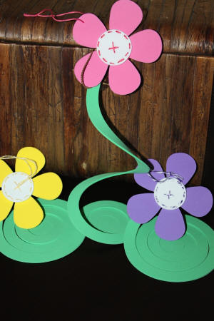 Hanging flower decorations made with craft foam