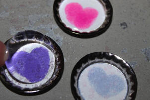 Add Clear Epoxy Sticker to Heart Bottle Cap Magnets