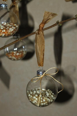 Popcorn filled glass ornaments